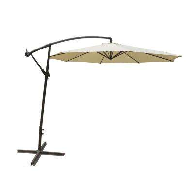 10 ft. Steel Cantilever Patio Umbrella in Cream