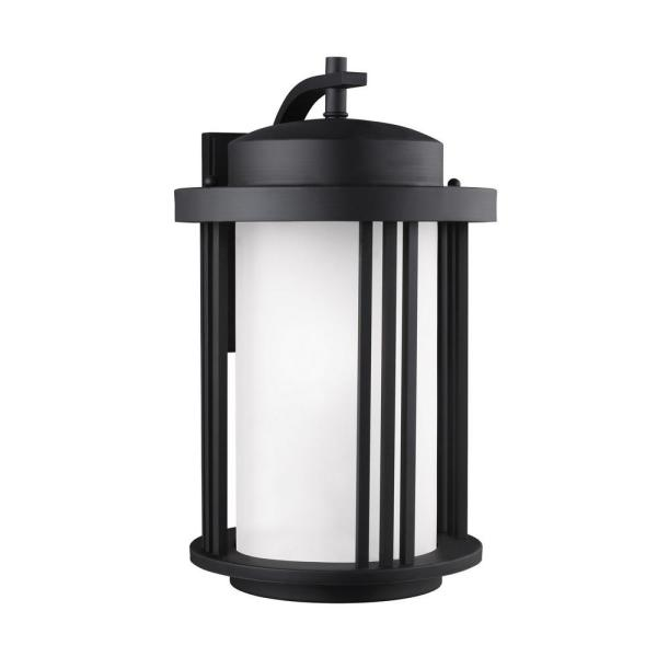 Crowell 1-Light Black Outdoor 19.5625 in. Wall Lantern Sconce with LED Bulb