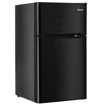 3.2 cu. ft. Mini Refrigerators Stainless Steel Refrigerator Small Freezer Cooler Fridge Compact Unit in Black