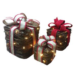Set of 3 Vine Presents with Lights