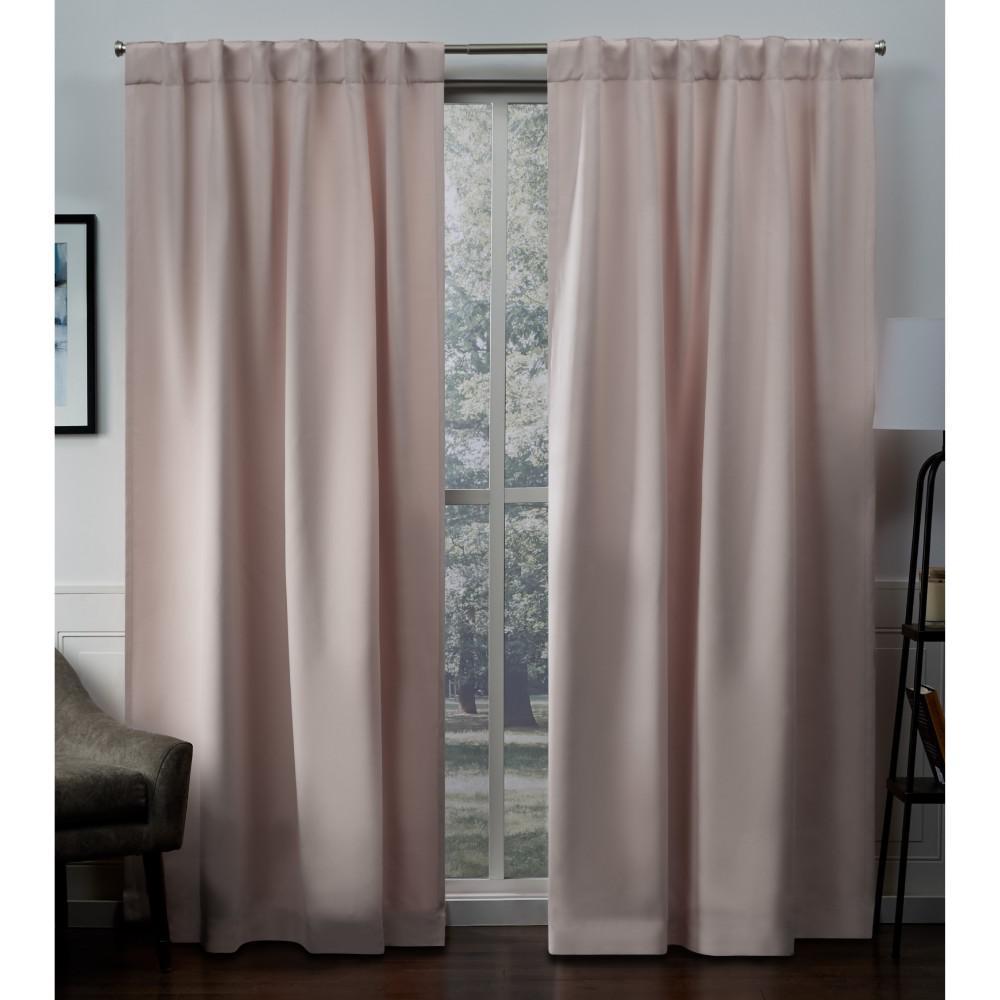 Sateen Blush Woven Blackout Hidden Tab Top Curtain - 52 in. W x 84 in. L
