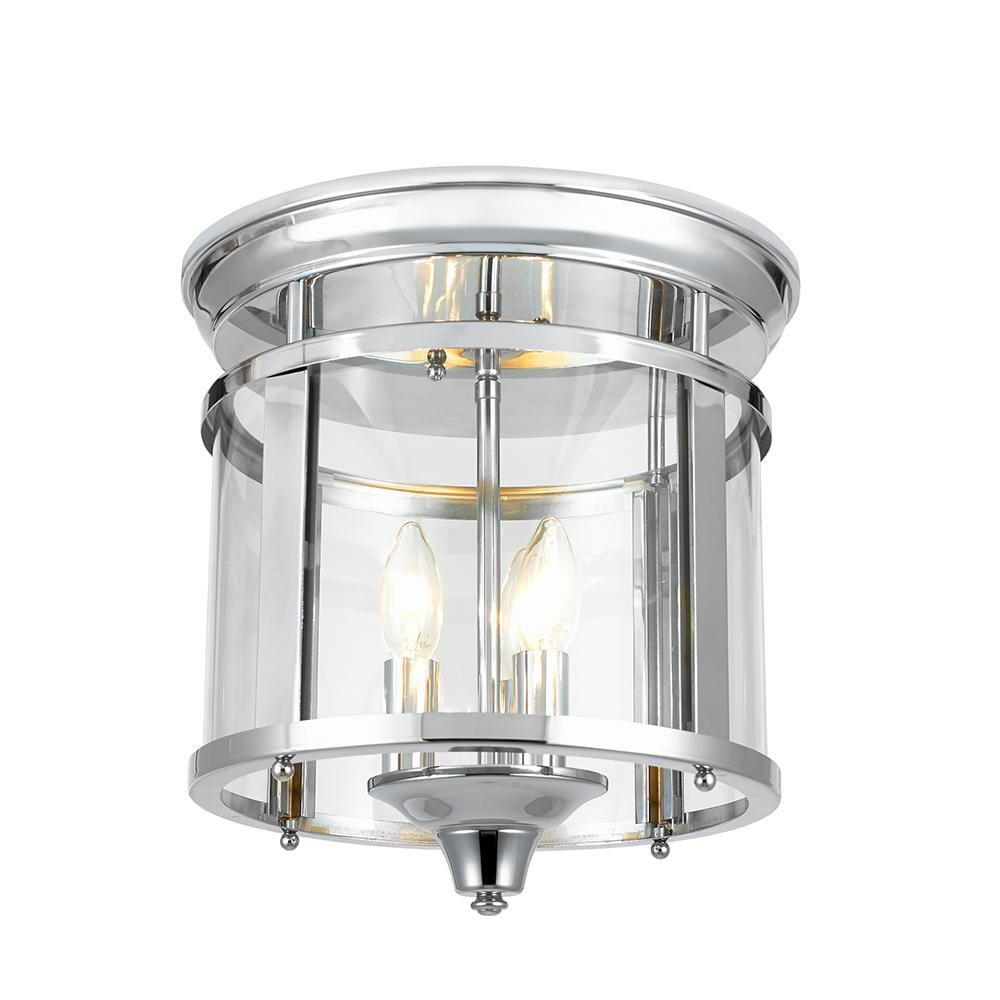 Home Decorators Collection 3-Light 12.25 in. Polished Chrome Flush Mount Ceiling Light