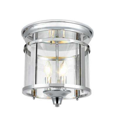 3-Light 12.25 in. Polished Chrome Flush Mount Ceiling Light