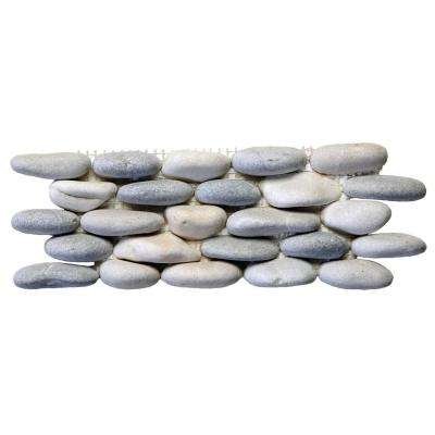 Standing Pebbles Terrene Blend 4 in. x 12 in. x 19.05 mm River Rock Mosaic Wall Tile (5 sq. ft. / case)