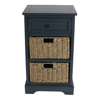 Montgomery Antique Navy Basket Storage End Table