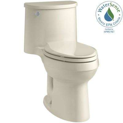 Adair Comfort Height 1-piece 1.28 GPF Single Flush Elongated Toilet with AquaPiston Flush Technology in Almond