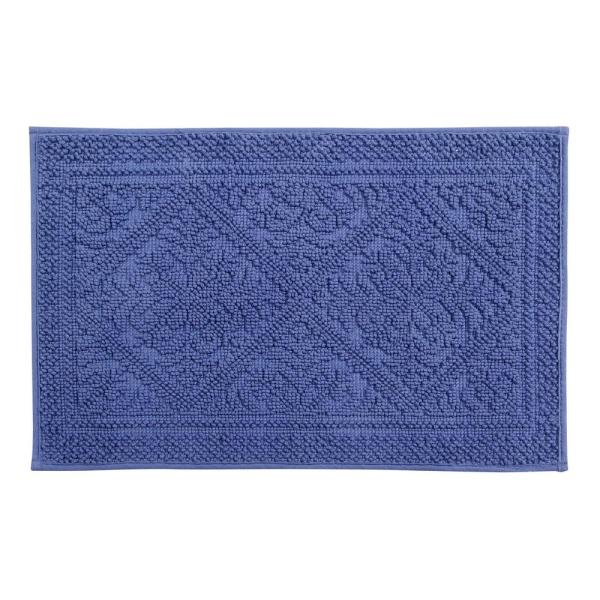 Jaquard Blue 17 in. x 24 in. and 21 in. x 34 in. Bath Rug Set (2-Piece)