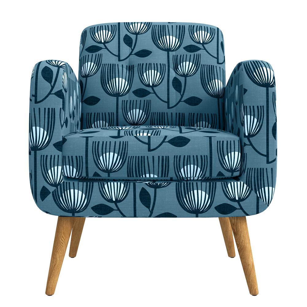 Kingston Blue Modern Tulip Print Mid Century Modern Arm Chair