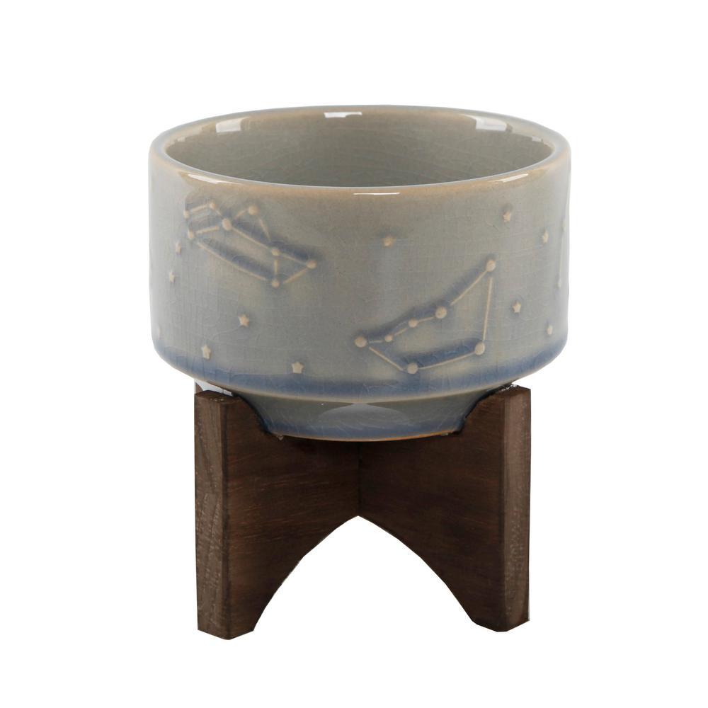 Flora Bunda 4 in. Glass Blue Ceramic Constellation Pot on Wood Stand Mid-Century Planter