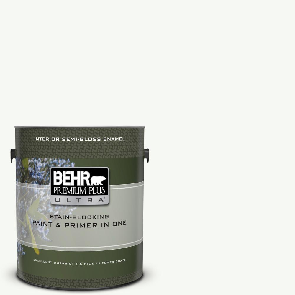 BEHR Premium Plus Ultra 1 gal. #UL260-14 Ultra Pure White Semi-Gloss Enamel Interior Paint and Primer in One