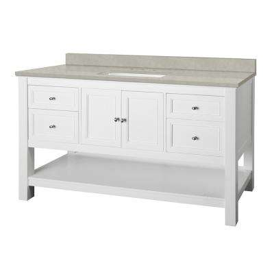 Gazette 61 in. W x 22 in. D Vanity Cabinet in White with Engineered Marble Vanity Top in Dunescape with White Sink