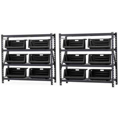 72 in. H x 154 in. W x 24 in. D 4-Wire Shelves Storage Rack with 6-Stackable Bins in Black (2-Pack)