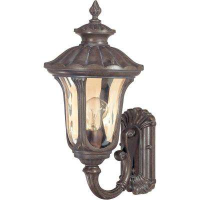 1-Light Outdoor Fruitwood Small Wall Lantern with Arm Up and Amber Water Glass