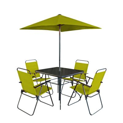6-Piece Square Powder Coated Steel Outdoor Dining Table Patio Set in Pepper Stem