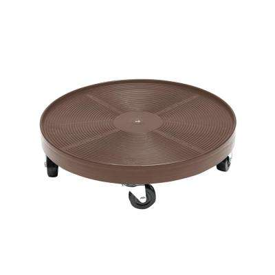 16 in. Espresso Round HDPE Plant Dolly/Caddy without Hole
