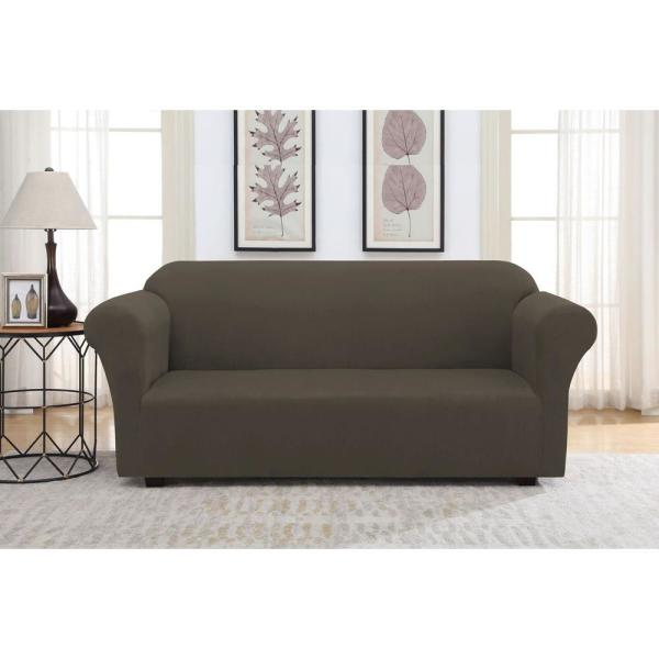 Chocolate Suede Stretch Fit Sofa Slipcover