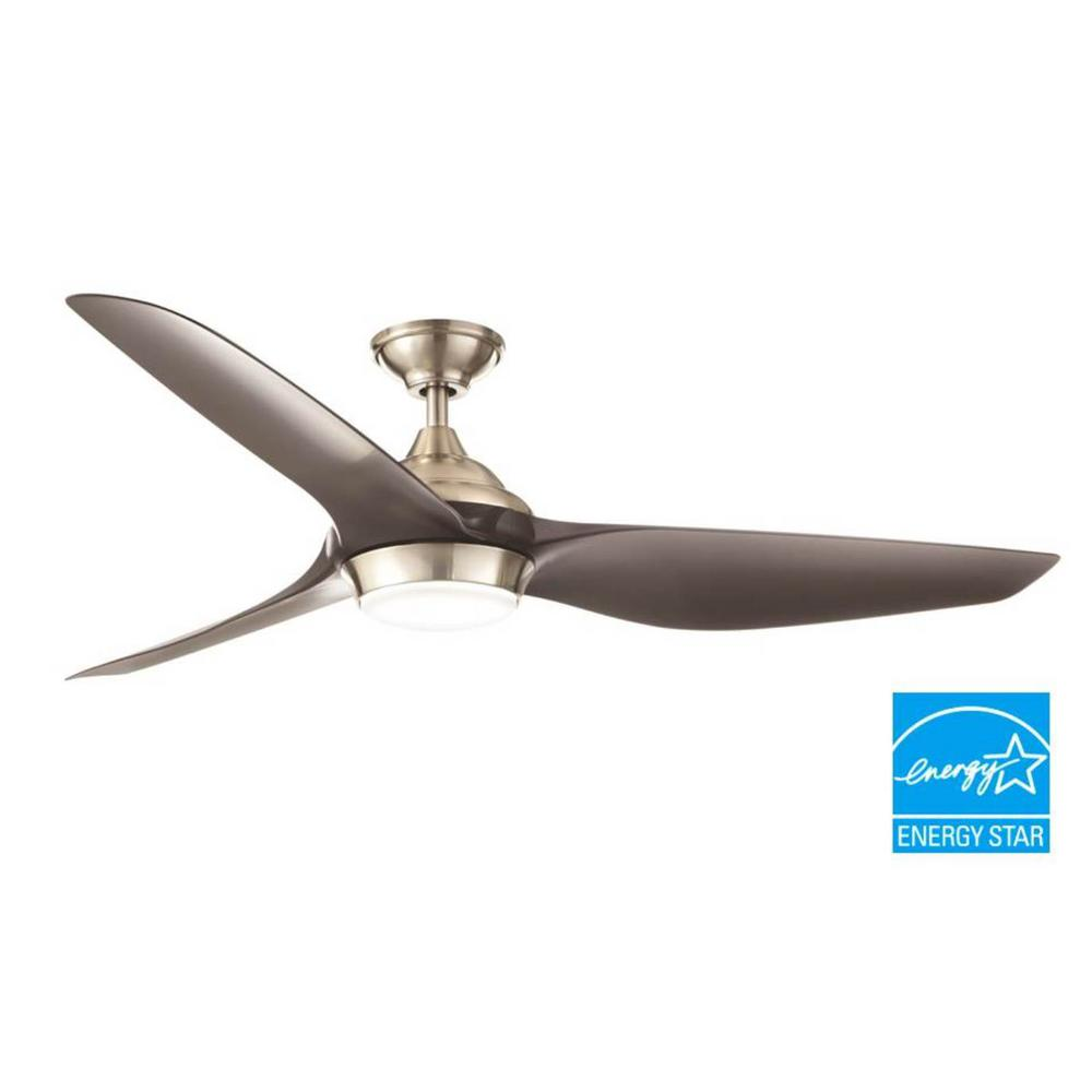 Home Decorators Collection Bachton 60 In Led Dc Motor Brushed Nickel Ceiling Fan Yg638 Bn The