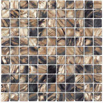 Mother of Pearl Gray Wood 12 in. x 12 in. x 2 mm Glass Mosaic Tile
