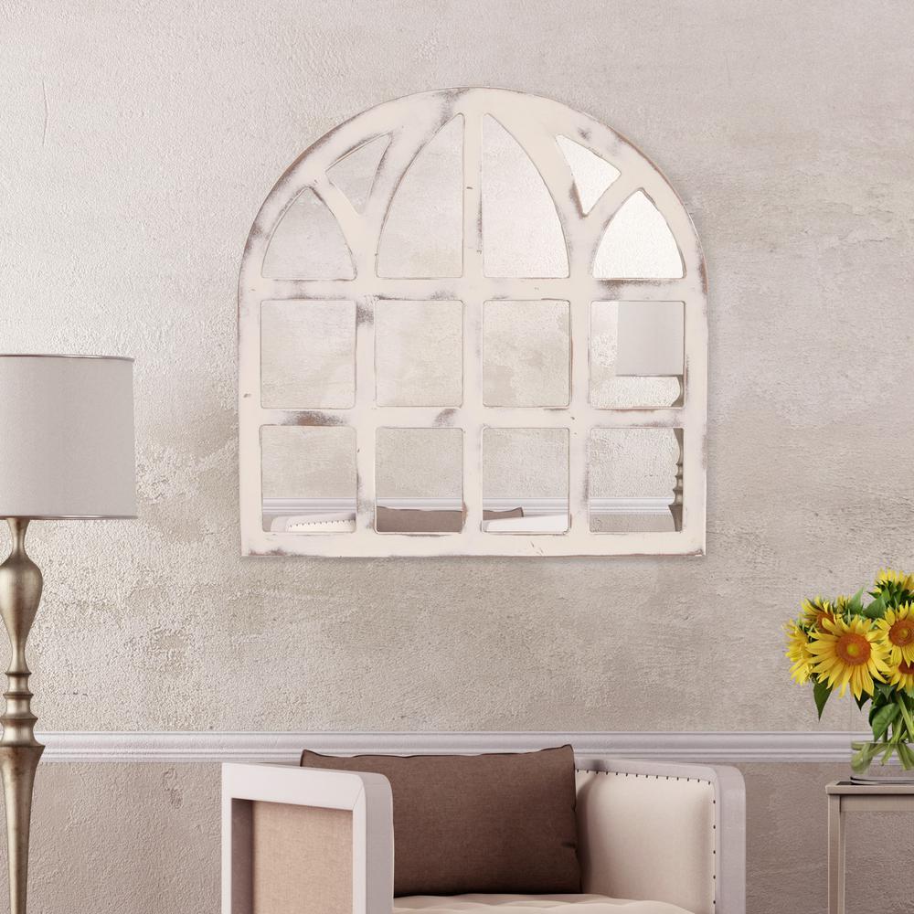 Farmhouse cathedral windowpane arch white decorative mirror