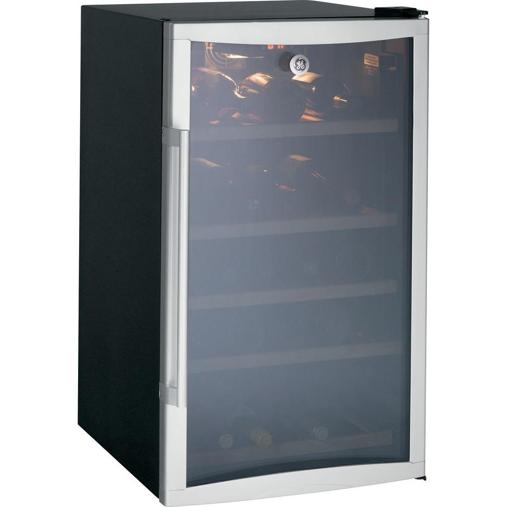 GE 31-Bottle Wine Cooler in Silver, Silver Door/Black Case