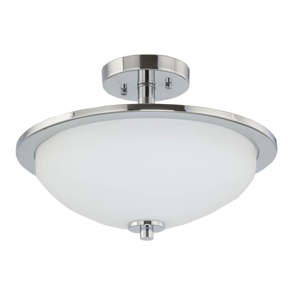 1baf5d9cfc1 Progress Lighting Replay 1-Light Brushed Nickel LED Semi-Flush Mount Light