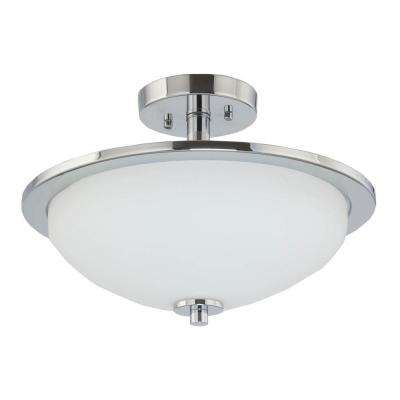 Replay Collection 1-Light Brushed Nickel LED Semi-Flushmount Light