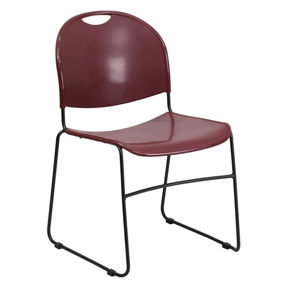 Gentil Hercules Series 880 Lb. Capacity Burgundy Ultra Compact Stack Chair With
