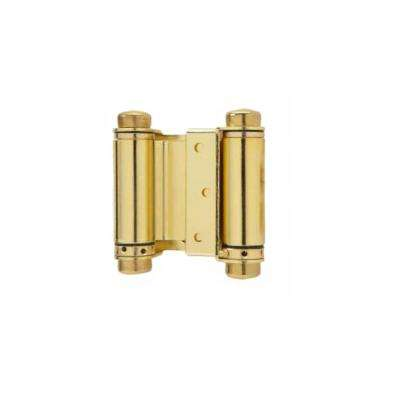 4 in. Double Acting Spring Hinge in Bright Brass (Set of 2)
