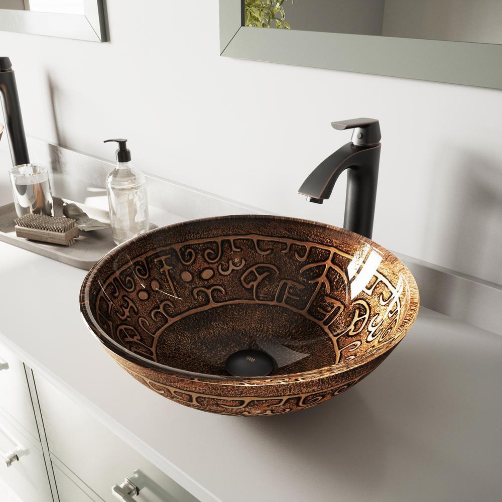 Glass Vessel Bathroom Sink in Golden Greek and Linus Faucet Set in Antique Rubbed Bronze