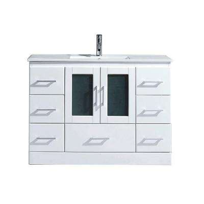 Zola 48 in. W Bath Vanity in White with Ceramic Vanity Top in Slim White Ceramic with Square Basin