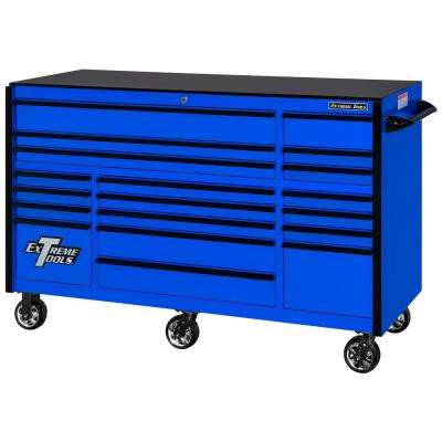 72 in. 19-Drawer Roller Cabinet Tool Chest in Blue with Black Drawer Pulls