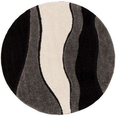 Florida Shag Gray/Black 6 ft. 7 in. x 6 ft. 7 in. Round Area Rug