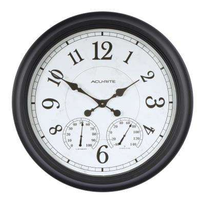 24 in. Black Clock with Thermometer and Hygrometer