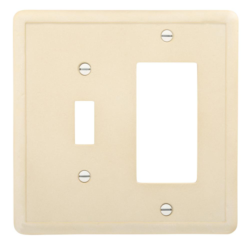 2-Gang 2 Combination Wall Plate, Travertine