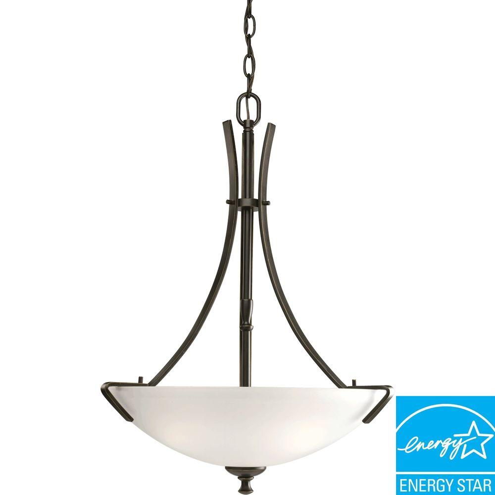 Progress Lighting Wisten Collection 3-Light Antique Bronze Foyer Pendant with Etched Glass