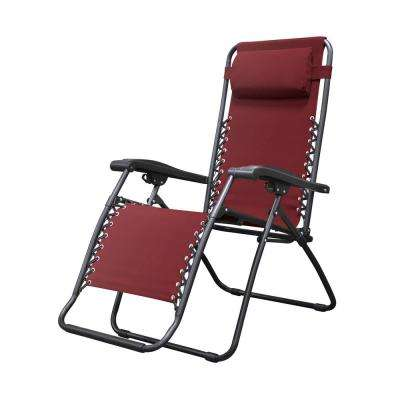 Infinity Burgundy Metal Zero Gravity Patio Chair