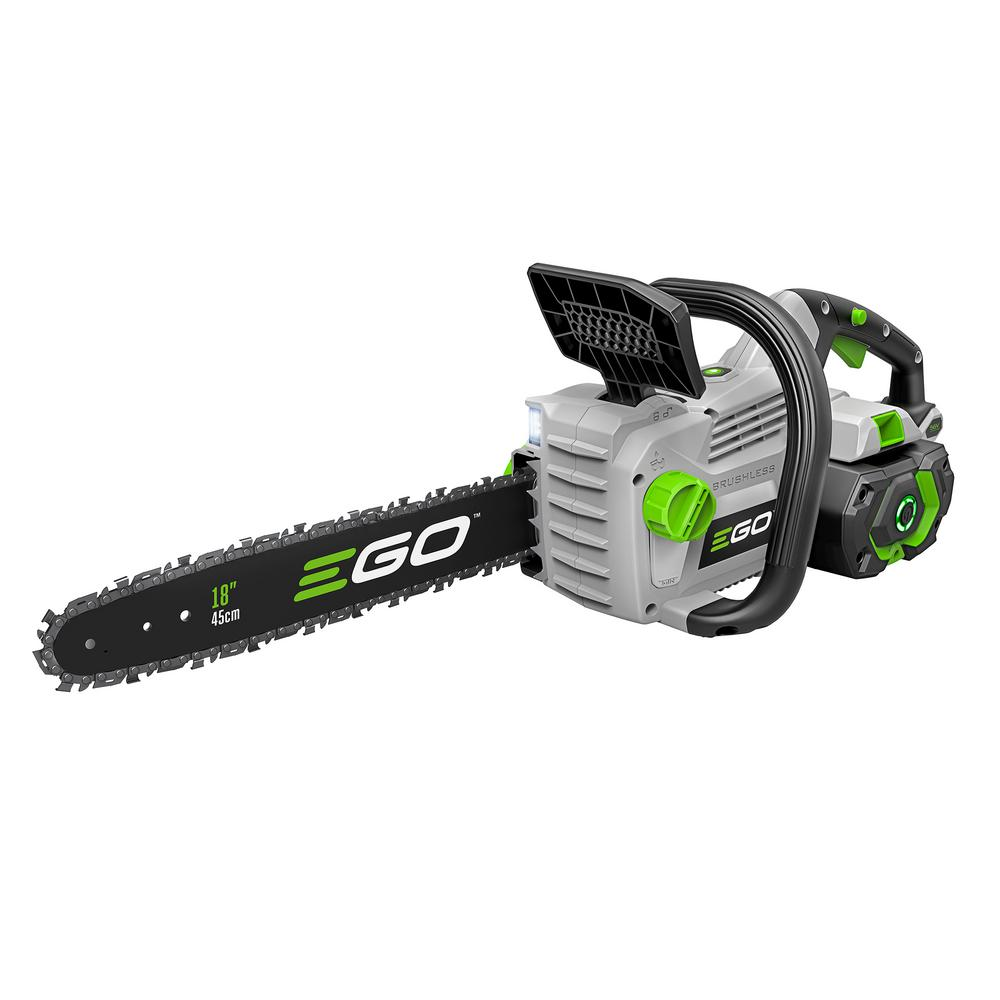EGO EGO 18 in. 56-Volt Lithium-ion Cordless Electric Chainsaw Kit with New 5.0 Ah Battery, 210-Watt charger