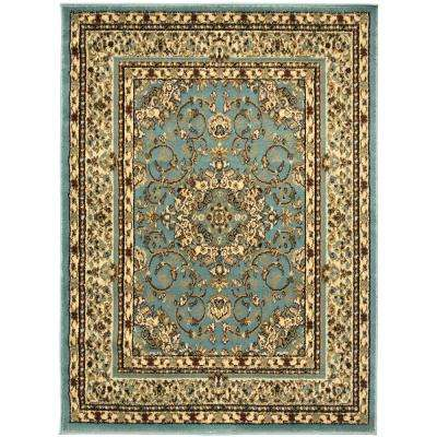 King Collection Isfahan Oriental Medallion Blue Teal 8 ft. x 10 ft. Indoor Area Rug