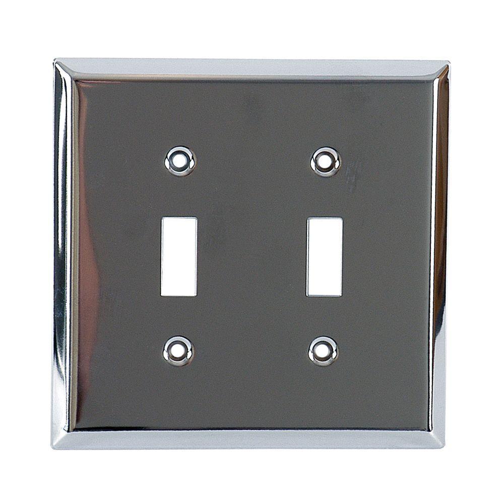 GE 1 Toggle Steel Wall Plate - Chrome