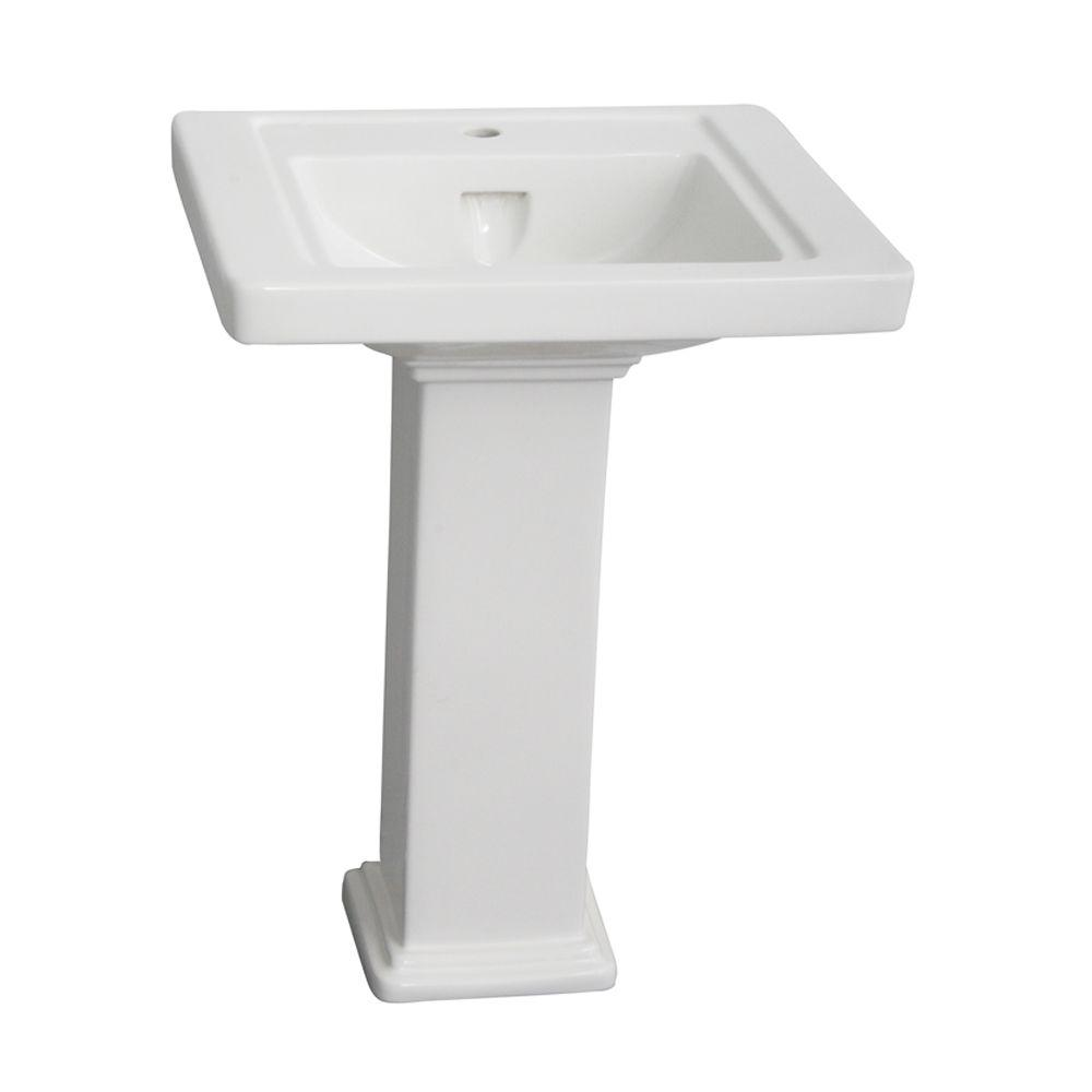 Barclay Products Empire 24 in. Pedestal Combo Bathroom Sink with 1 Faucet Hole in White