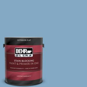 Behr Premium Plus 5 Gal 540f 5 Smokey Blue Flat Exterior Paint And Primer In One 430005 The Home Depot
