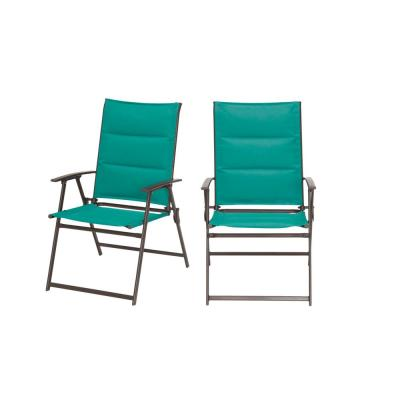 Mix and Match Steel Padded Sling Folding Outdoor Patio Dining Chair in Emerald Coast Green (2-Pack)