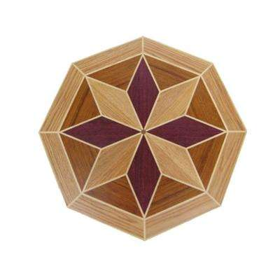 3/4 in. Thick x 24 in. Wide Octagon Medallion Unfinished Decorative Wood Floor Inlay MT010