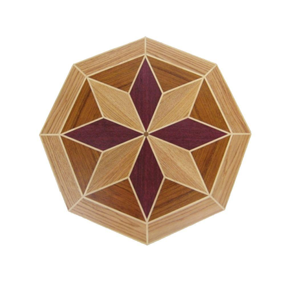 PID Floors Octagon Medallion Unfinished Decorative Wood Floor Inlay MT010 - 5 in. x 3 in. Take Home Sample