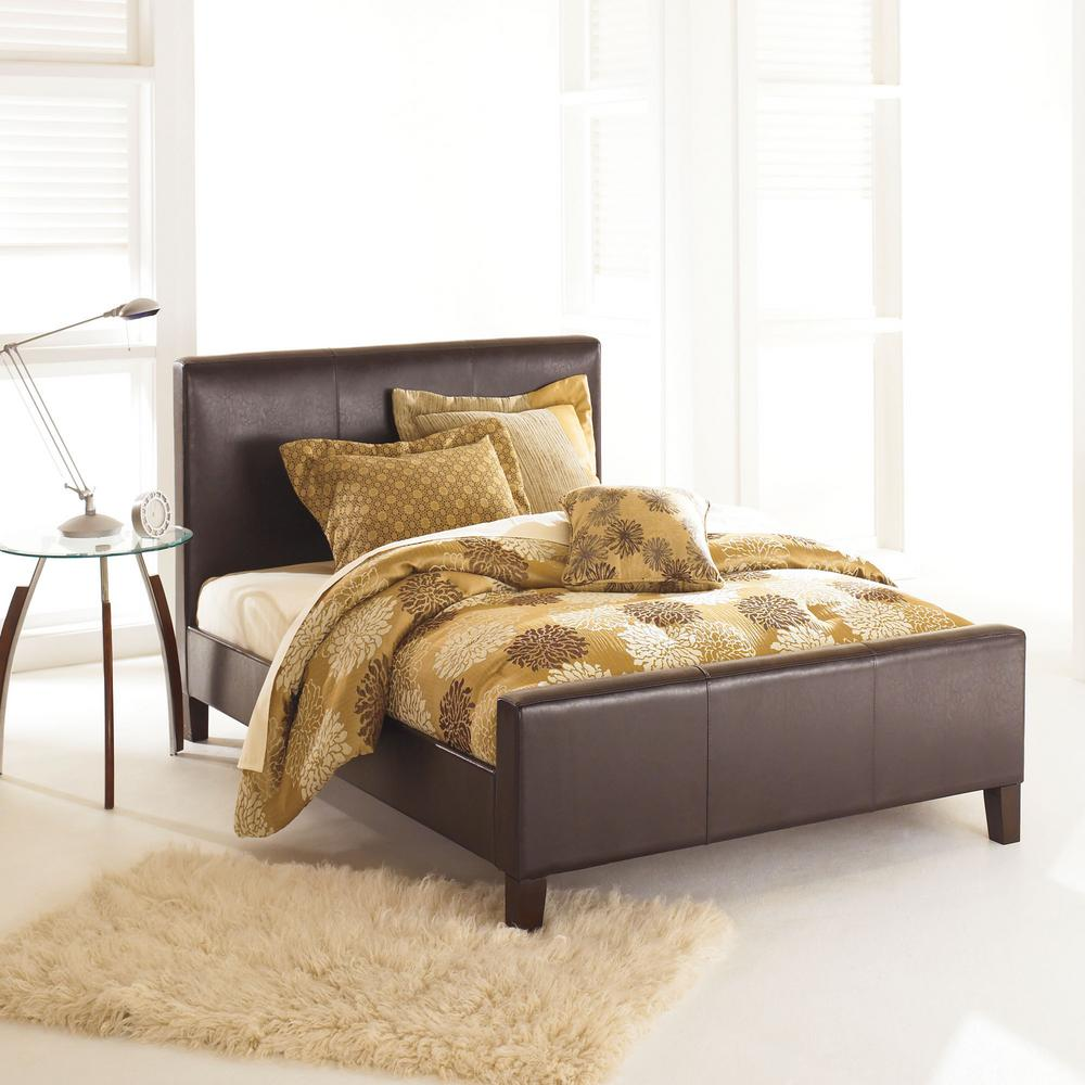 Euro Sable Full-Size Platform Bed with Side Rails and Soft Upholstered