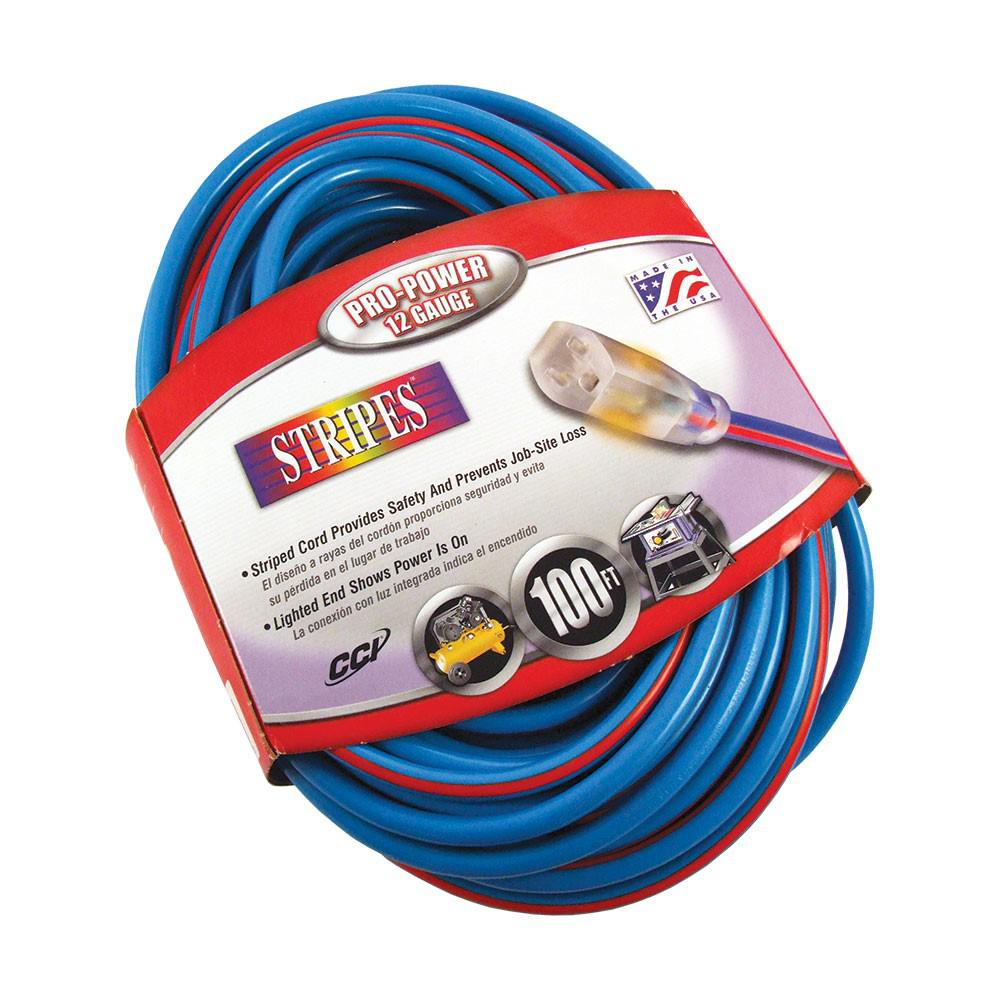 100 ft. 12/3 SJTW Hi-Visbility Multi-Color Outdoor Heavy-Duty Extension Cord