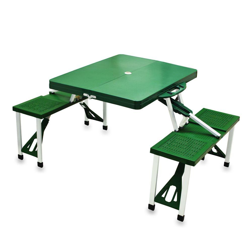 Portable Folding Green Patio Picnic Table with Seats