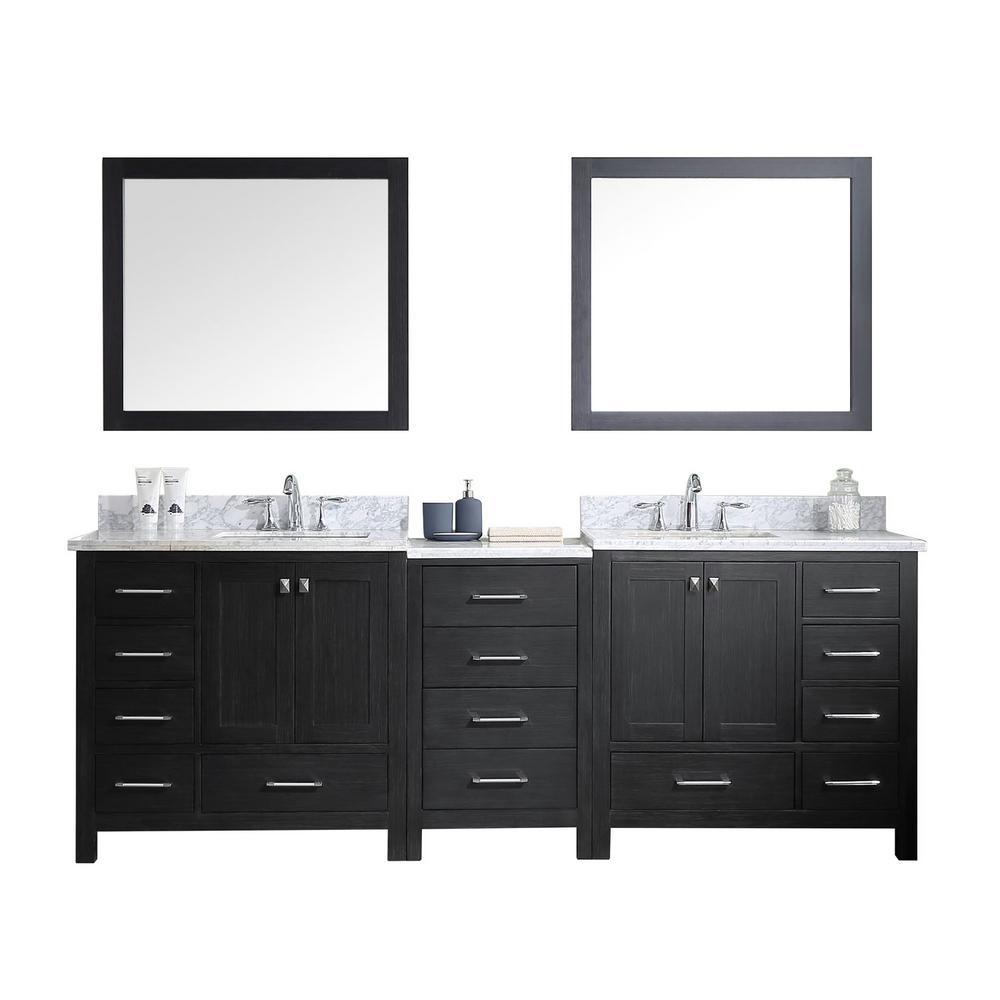 Virtu Usa Caroline Premium 92 In W Bath Vanity Zebra Gray With Marble