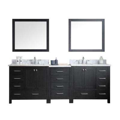 Caroline Avenue 93 in. W x 22 in. D x 34.21 in. H Zebra Grey Vanity with Marble Vanity Top with White Basin and Mirror