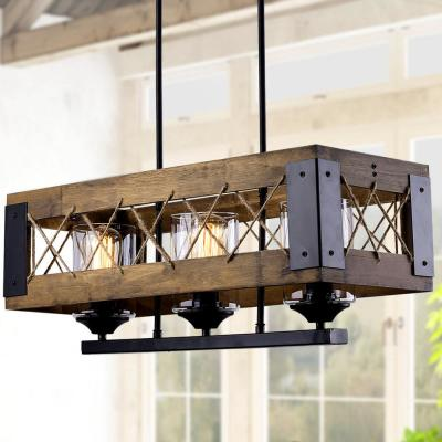 3-light 24 in. Modern Farmhouse Real Wood Box Kitchen Island Chandelier with Clear Glass Shades and Natural Ropes
